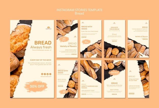 Шаблон рассказов instagram магазина хлеба