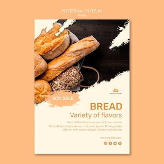 Шаблон плаката магазина хлеба