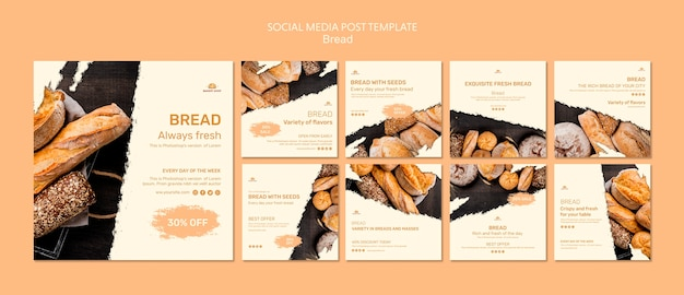 Bread shop social media post template