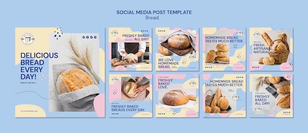 소셜 미디어 게시물을위한 빵 템플릿