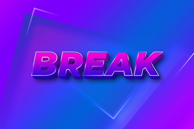 Break 3d text style effect
