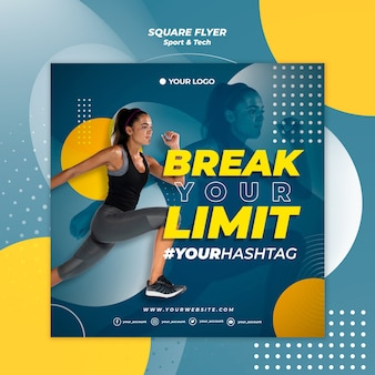 Break your limit girl square flyer template