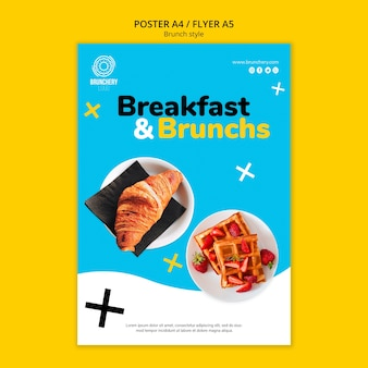 Breakfast and brunch flyer template