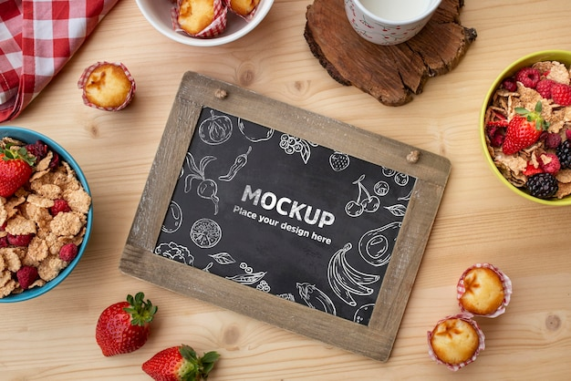 Breakfast cereals with blackboard mock-up