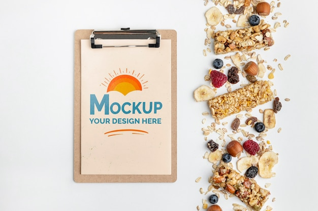 Breakfast cereals with clipboard mock-up