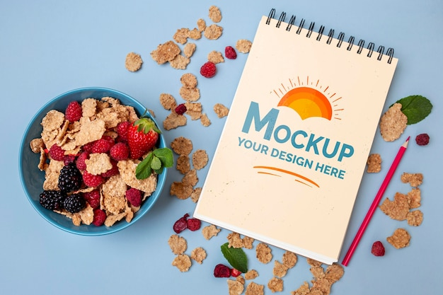 Breakfast cereals with notepad mock-up