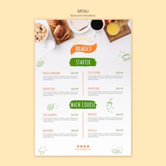 Breakfast and coffee restaurant menu template