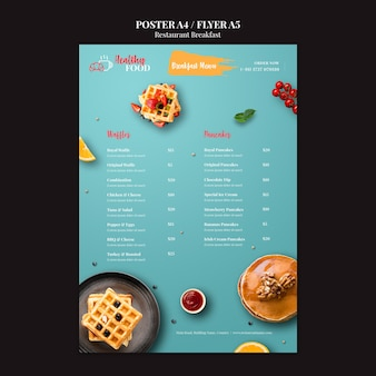 Modello del manifesto del menu della colazione