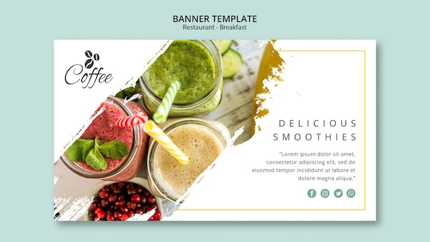 Breakfast restaurant banner template with photo