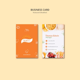 Breakfast restaurant business card template