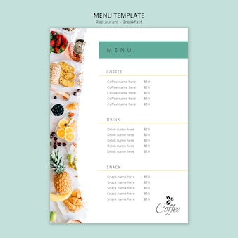 Шаблон меню ресторана завтрак