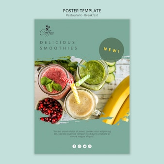 Breakfast restaurant poster template