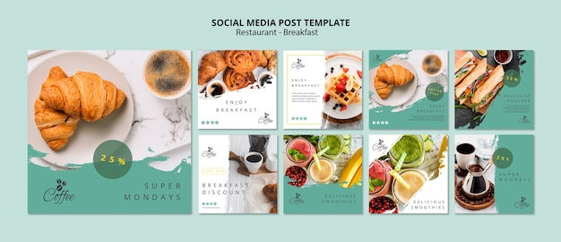 Breakfast restaurant social media posts template