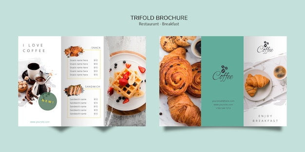 Breakfast restaurant trifold brochure template