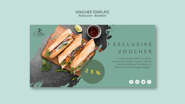 Breakfast restaurant voucher template with special offer