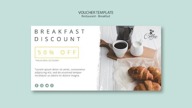 Breakfast restaurant voucher template