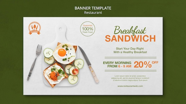 Breakfast sandwich food restaurant banner template