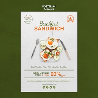 Breakfast sandwich restaurant poster print template