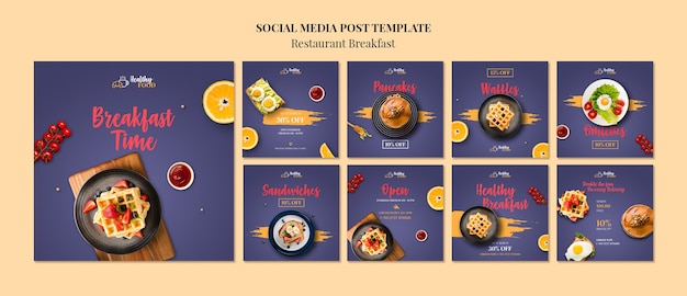Breakfast social media post template