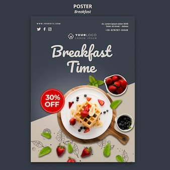 Breakfast time poster template Free Psd