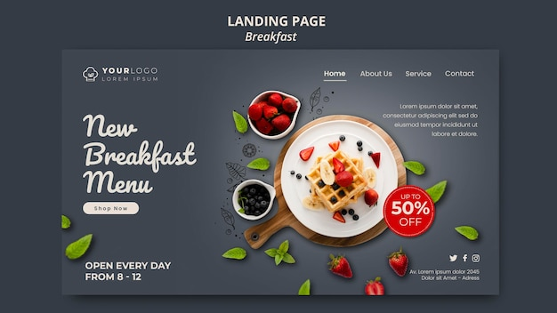 Breakfast time template landing page