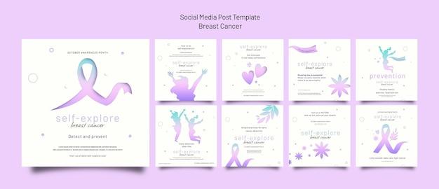 Breast cancer awareness ig posts set
