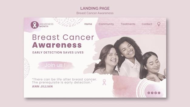 乳がん啓発月間ランディングページテンプレート