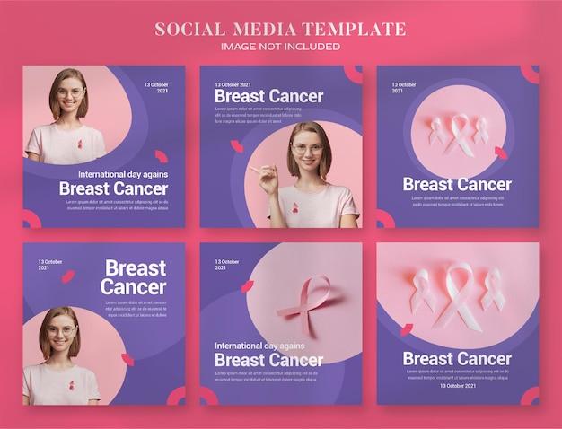 Месяц осведомленности о раке груди, баннер в социальных сетях и шаблон сообщения в instagram
