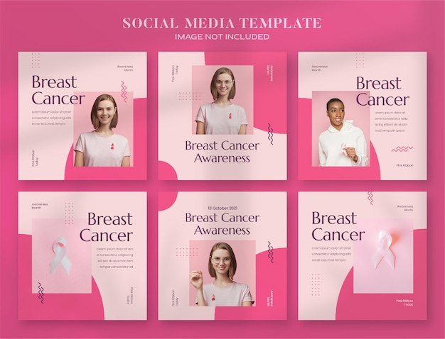 Breast cancer awareness month social media banner and instagram post template