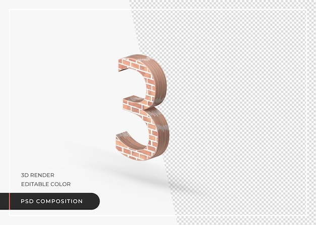 Brick effect numerical number 3 isolated 3d rendering