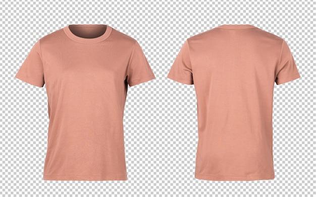 벽돌 오렌지 여자 티셔츠 앞면과 뒷면 이랑