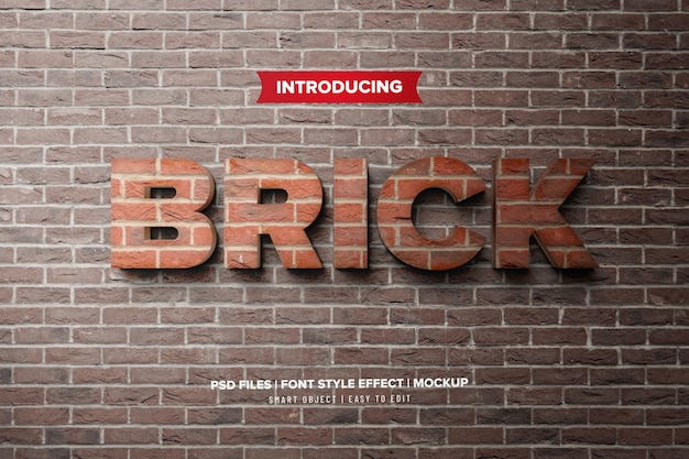 Brick stone 3d premium text effect