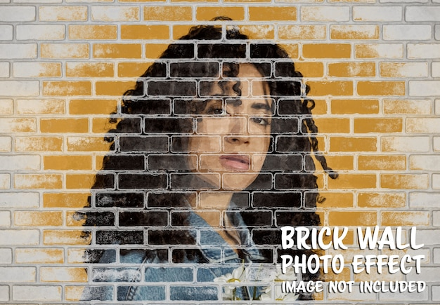 Brick wall photo effect mockup