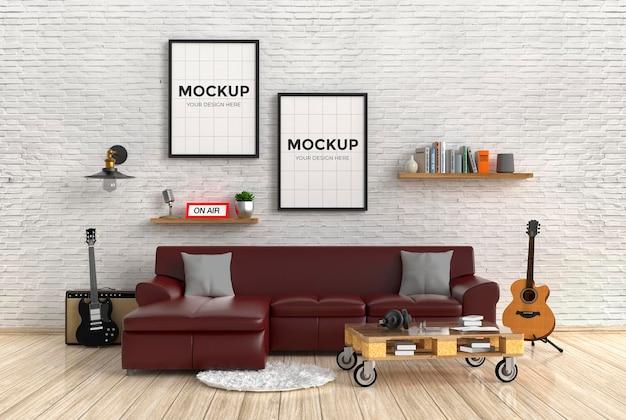 프레임 모형 디자인으로 벽돌 벽