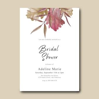 Шаблон карты свадебного душа с акварельным украшением из сухих листьев