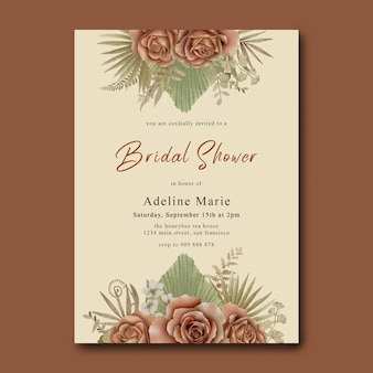 Bridal shower card template with watercolor tropical roses and leaves