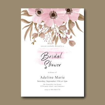 Bridal shower card with floral decoration and watercolor brush effect Premium Psd