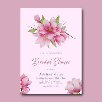 水彩の桜の装飾が施されたブライダルシャワーのテンプレート