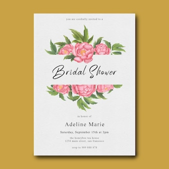 Bridal shower template with watercolor peony flower frame