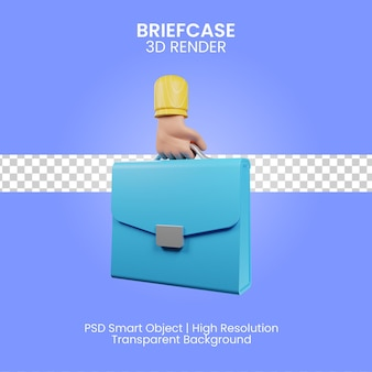 Briefcase 3d render illustration isolated