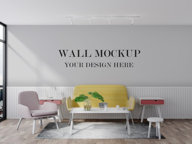 明るくカラフルな居間空の壁3dレンダリングモックアップ