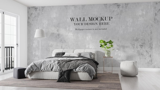 Bright bedroom wall mockup