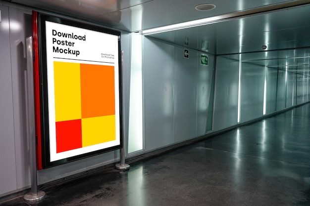 Bright billboard mockup in underground