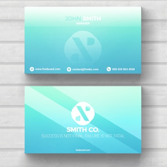Bright blue business card