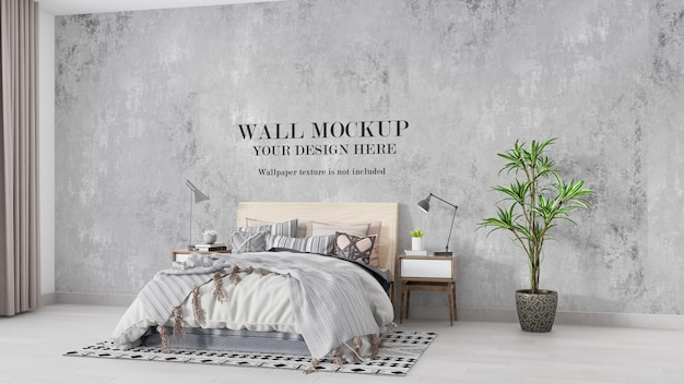 Bright and cozy bedroom wall mockup