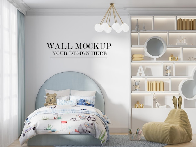 Bright and cozy bedroom wall mockup