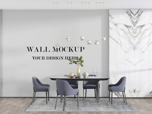 Bright dining room wall mockup behind dining table set 3d render