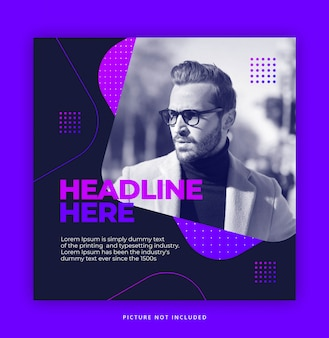 Bright gradient color hipster instagram social media template