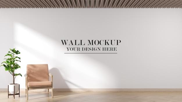 Bright interior wall mockup in 3d rendering