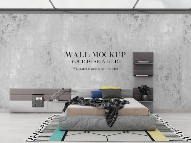 Bright modern bedroom wallpaper mockup design